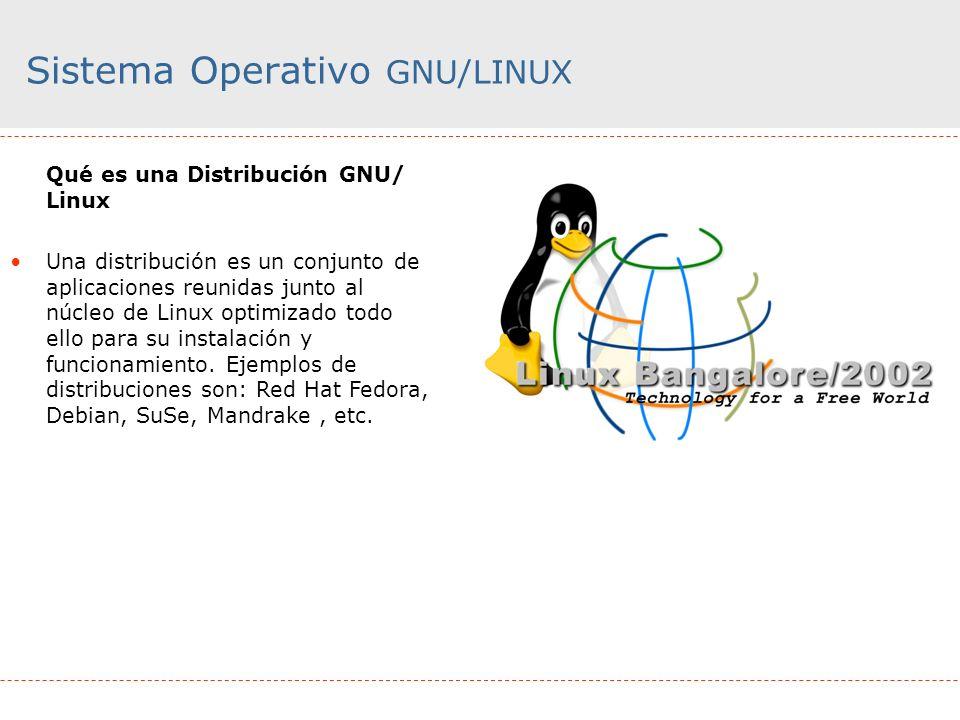 Sistema Operativo GNU/LINUX Qué es una Distribución GNU/ Linux Una distribución es un conjunto de aplicaciones reunidas junto al núcleo de Linux optim