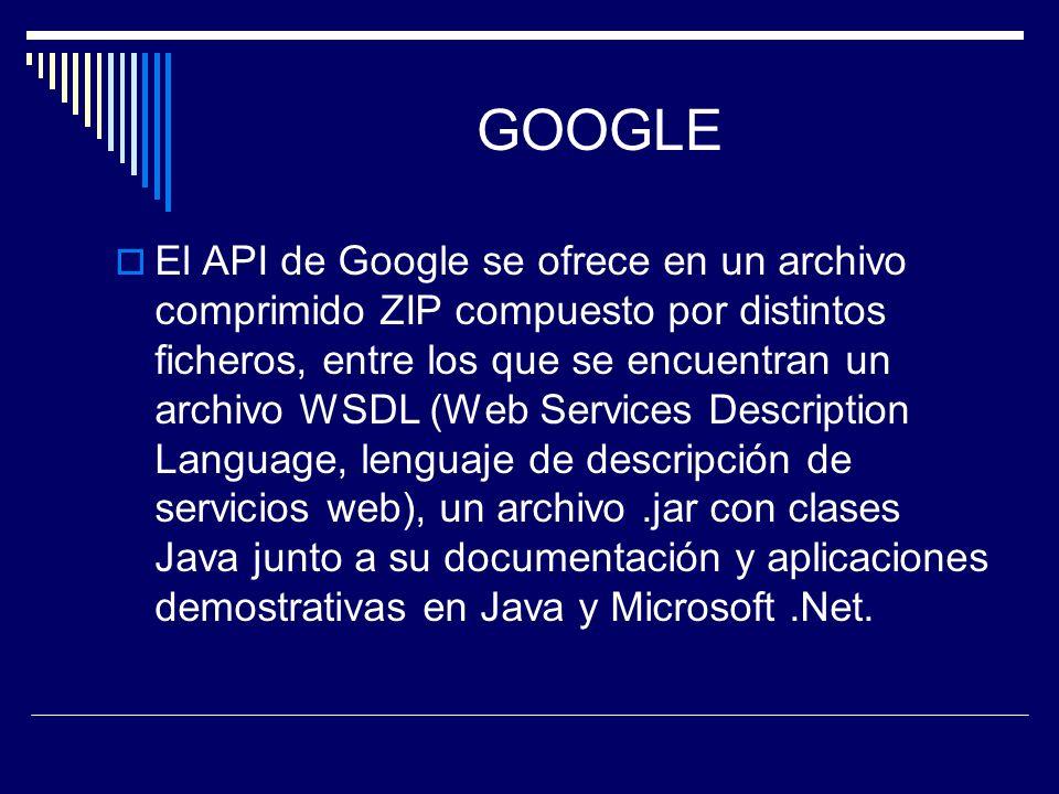 GOOGLE El API de Google se ofrece en un archivo comprimido ZIP compuesto por distintos ficheros, entre los que se encuentran un archivo WSDL (Web Serv