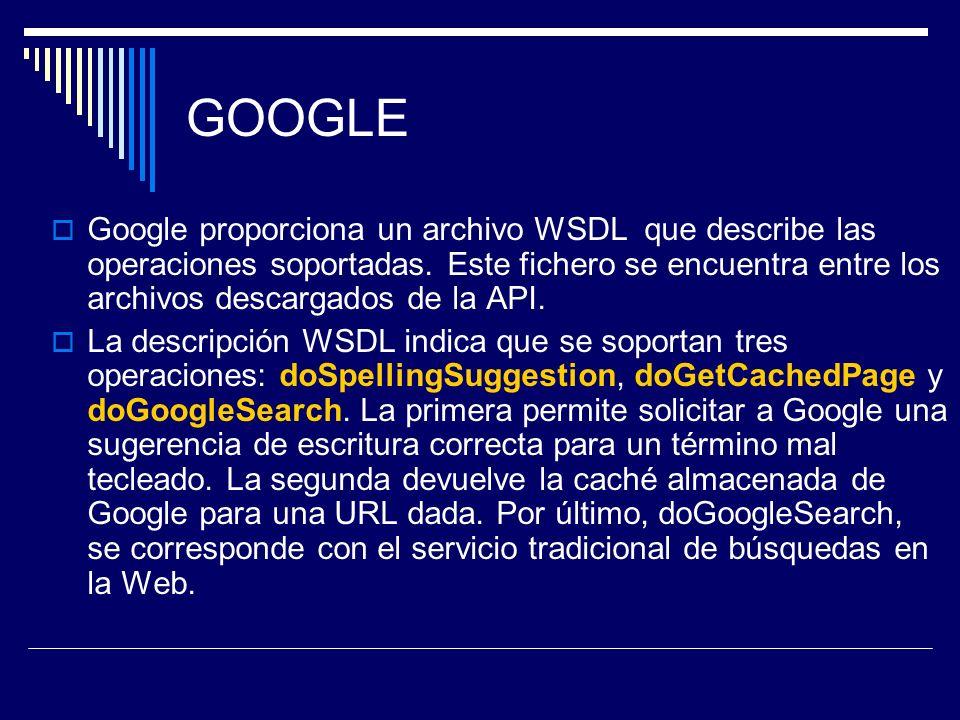 GOOGLE Google proporciona un archivo WSDL que describe las operaciones soportadas. Este fichero se encuentra entre los archivos descargados de la API.