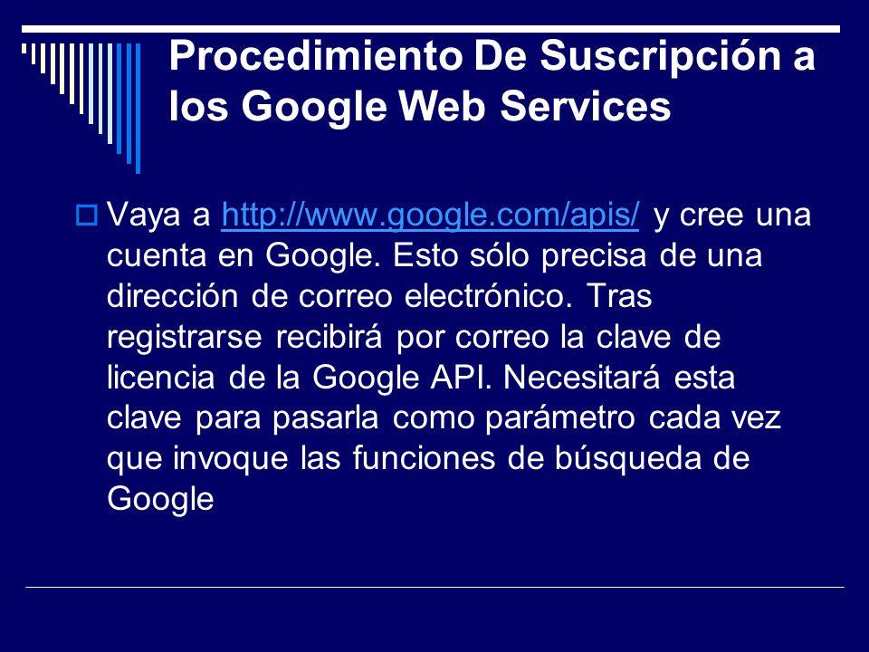 Procedimiento De Suscripción a los Google Web Services Vaya a http://www.google.com/apis/ y cree una cuenta en Google. Esto sólo precisa de una direcc