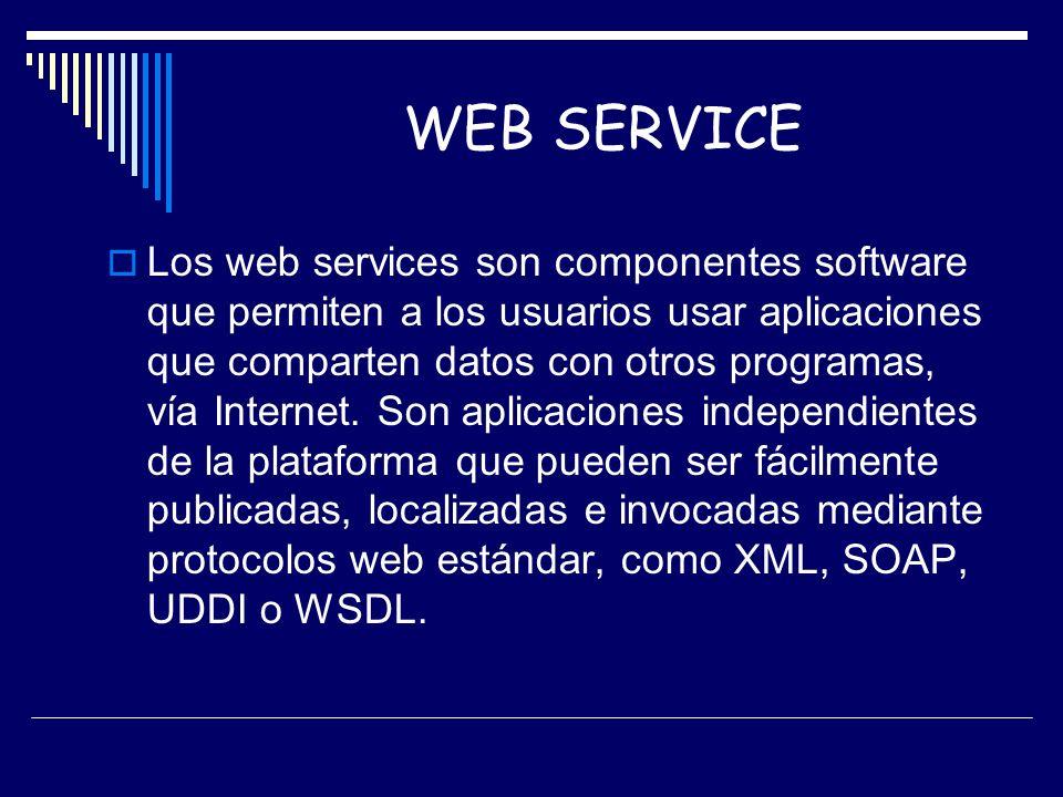 Los web services son componentes software que permiten a los usuarios usar aplicaciones que comparten datos con otros programas, vía Internet. Son apl