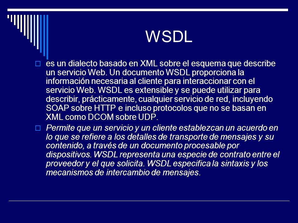 WSDL es un dialecto basado en XML sobre el esquema que describe un servicio Web. Un documento WSDL proporciona la información necesaria al cliente par