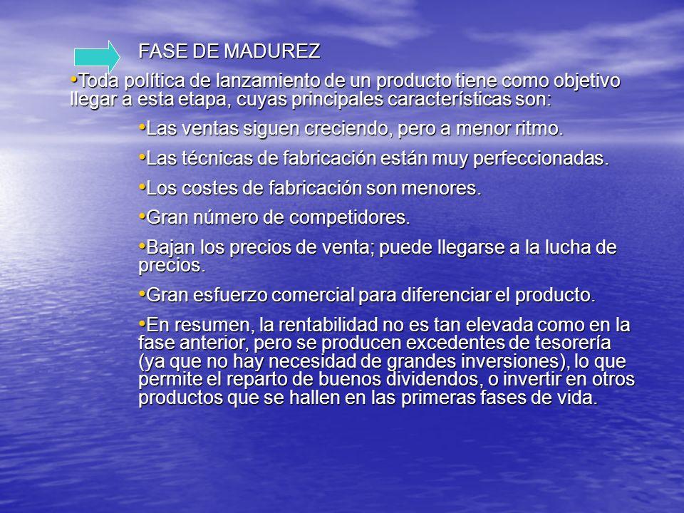 FASE DE MADUREZ FASE DE MADUREZ Toda política de lanzamiento de un producto tiene como objetivo llegar a esta etapa, cuyas principales características