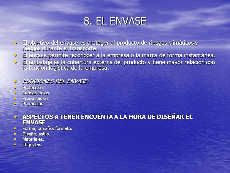 8. EL ENVASE El objetivo del envase es proteger al producto de riesgos climáticos y riesgos durante el transporte. El objetivo del envase es proteger
