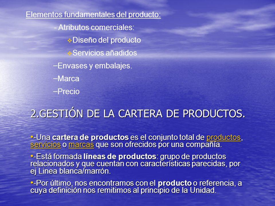 Elementos fundamentales del producto: - Atributos comerciales: Diseño del producto Servicios añadidos – Envases y embalajes. – Marca – Precio 2.GESTIÓ