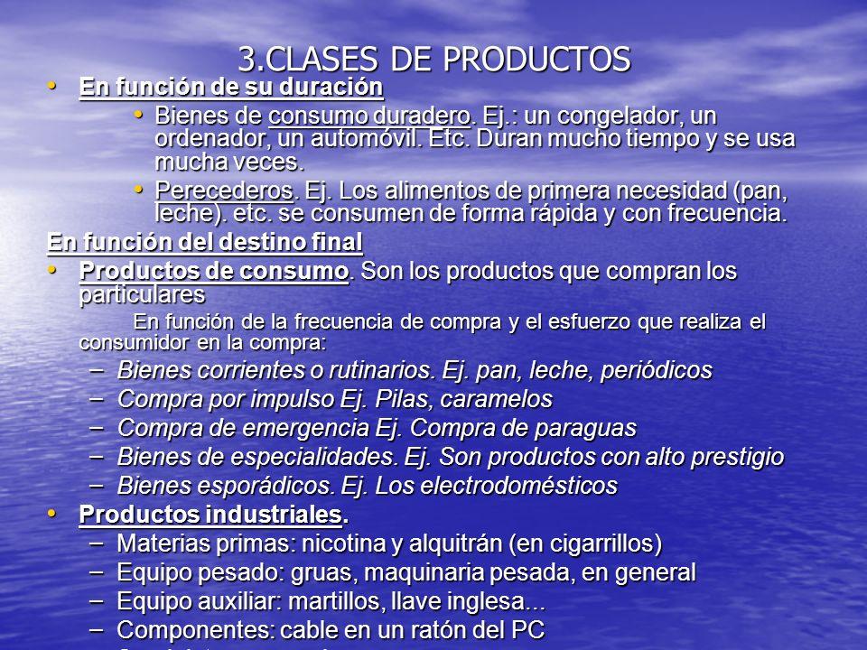 3.CLASES DE PRODUCTOS En función de su duración En función de su duración Bienes de consumo duradero. Ej.: un congelador, un ordenador, un automóvil.