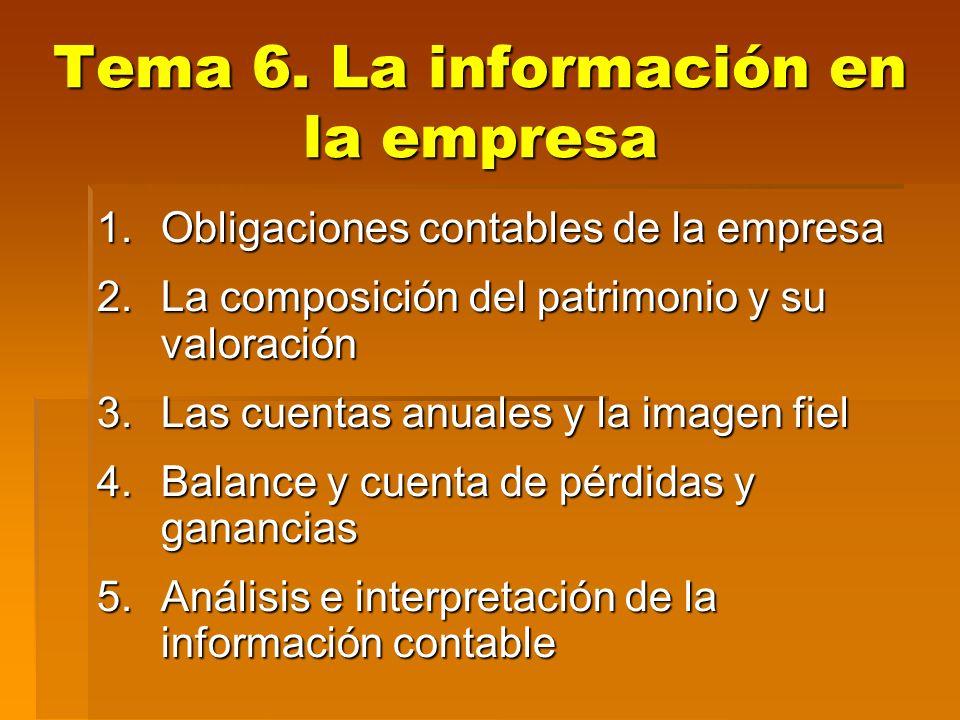 Tema 6.La información en la empresa 21 4.1. Activo Orden: De menor a mayor grado de liquidez.