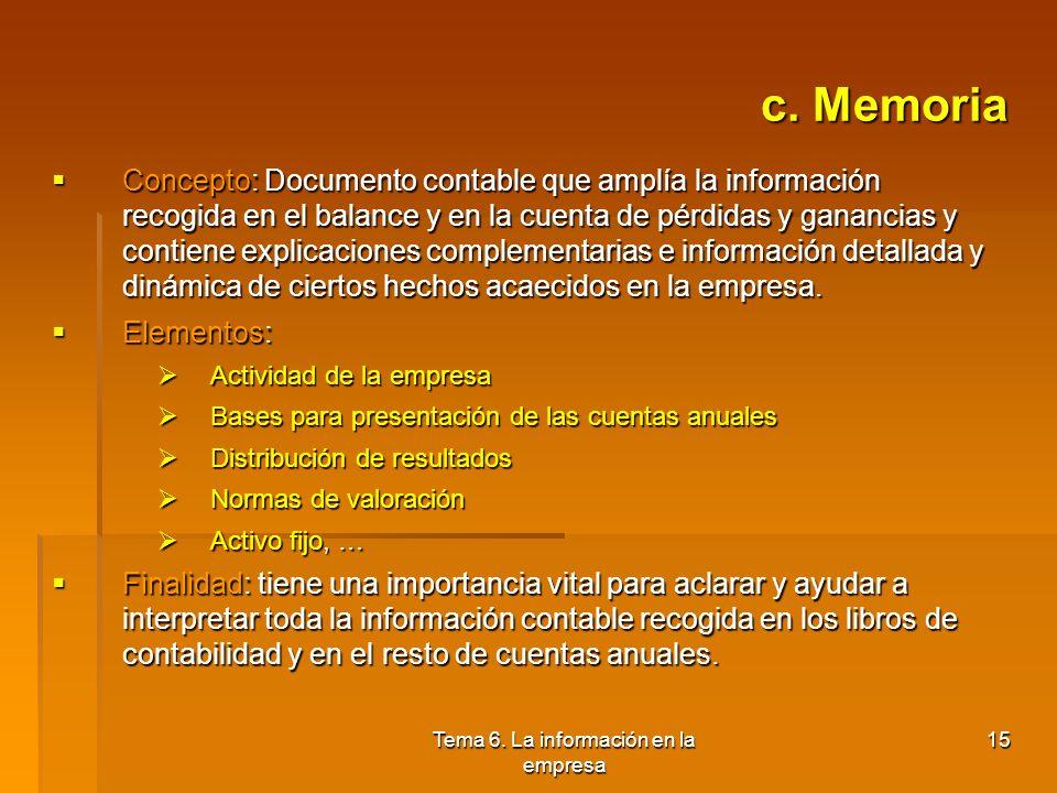 Tema 6. La información en la empresa 14 b. Cuenta de pérdidas y ganancias Concepto: Documento contable mediante el que se representa la imagen fiel de