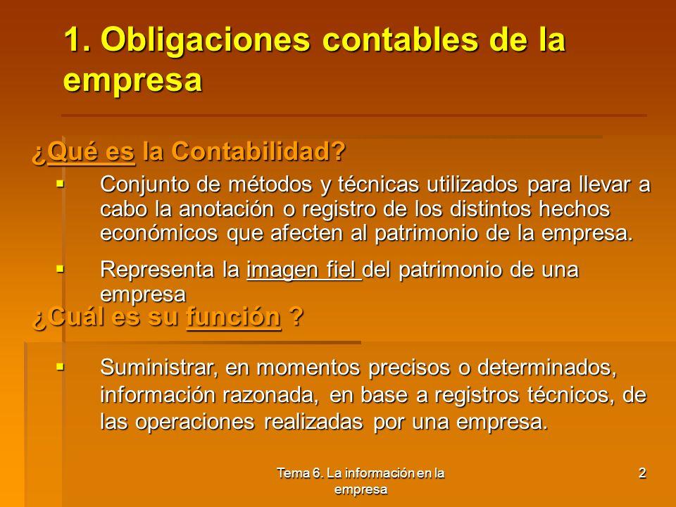 Tema 6. La información en la empresa 1.Obligaciones contables de la empresa 2.La composición del patrimonio y su valoración 3.Las cuentas anuales y la