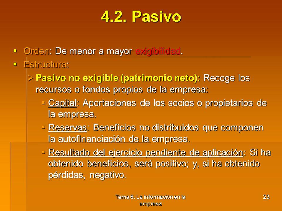 Tema 6. La información en la empresa 22 4.1. Activo Activo corriente: Representa los activos corrientes o líquidos: Activo corriente: Representa los a