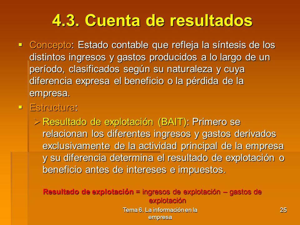 Tema 6. La información en la empresa 24 4.2. Pasivo Pasivo exigible: Constituido por los fondos ajenos a la empresa: Pasivo exigible: Constituido por