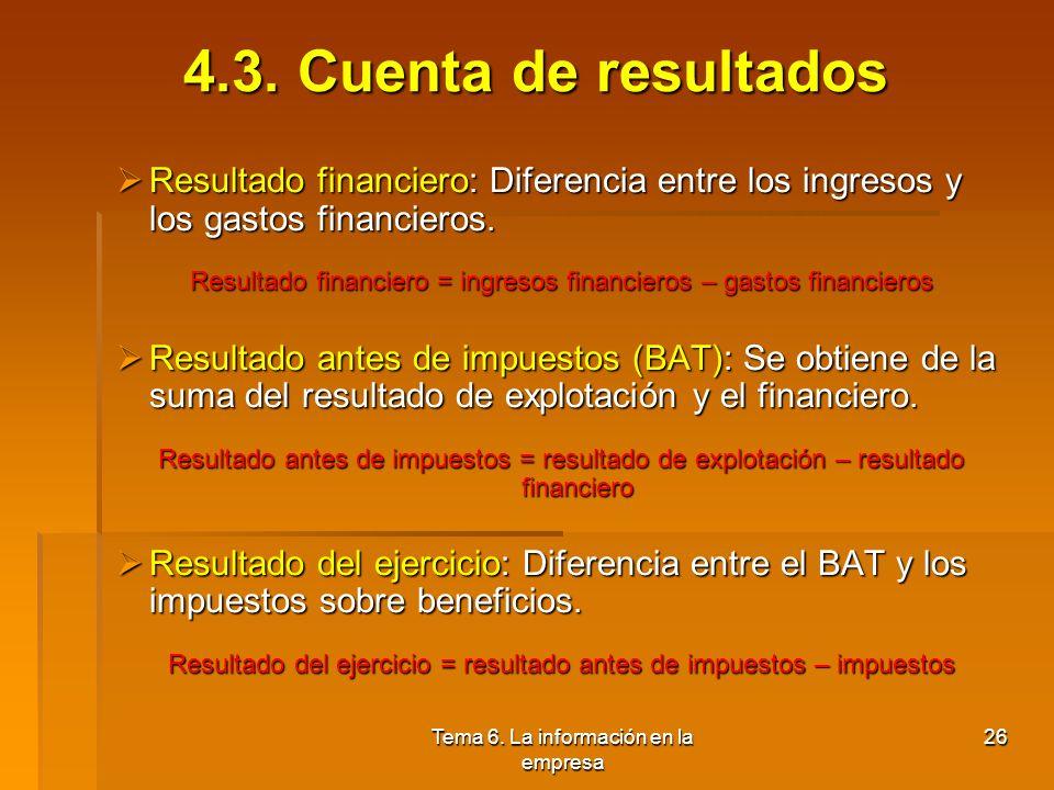 Tema 6. La información en la empresa 25 4.3. Cuenta de resultados Concepto: Estado contable que refleja la síntesis de los distintos ingresos y gastos