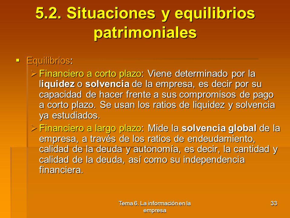 Tema 6. La información en la empresa 32 5.2. Situaciones y equilibrios patrimoniales Análisis de la estructura del balance: Análisis de la estructura