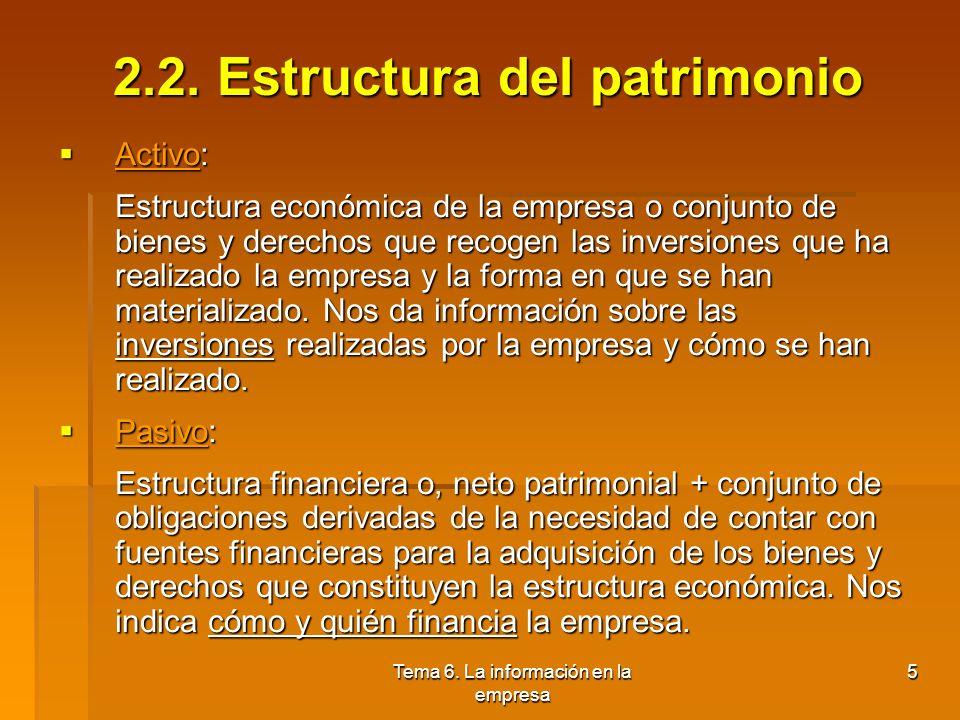 Tema 6. La información en la empresa 4 2.1. El patrimonio: patrimonio neto Concepto: conjunto de bienes, derechos y obligaciones que pertenecen a la e