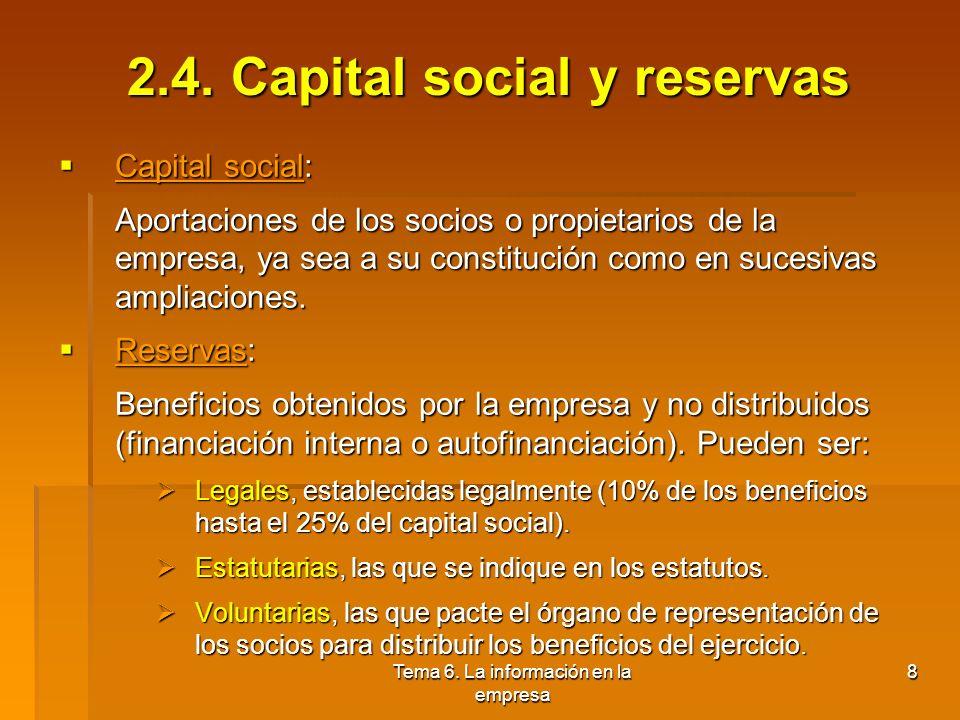 Tema 6. La información en la empresa 7 2.3. Elementos y masas patrimoniales Elementos patrimoniales: Elementos patrimoniales: Los distintos bienes, de