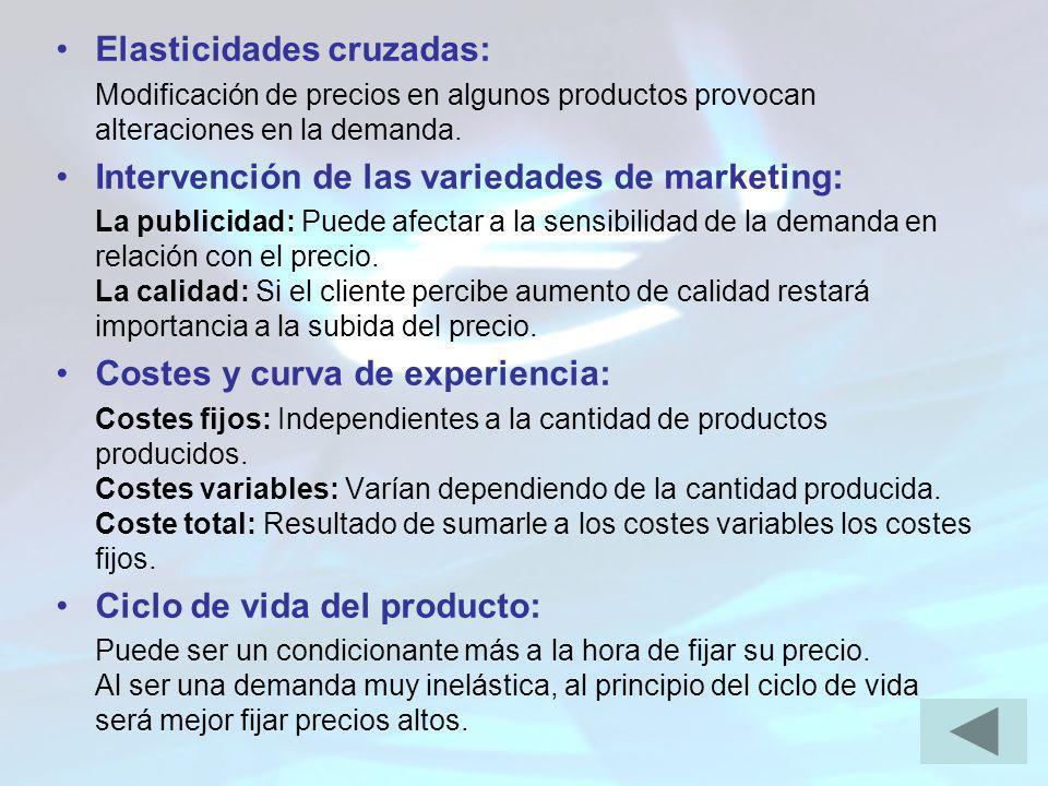 Elasticidades cruzadas: Modificación de precios en algunos productos provocan alteraciones en la demanda. Intervención de las variedades de marketing: