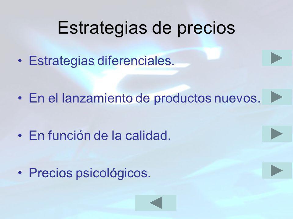 Estrategias de precios Estrategias diferenciales. En el lanzamiento de productos nuevos. En función de la calidad. Precios psicológicos.