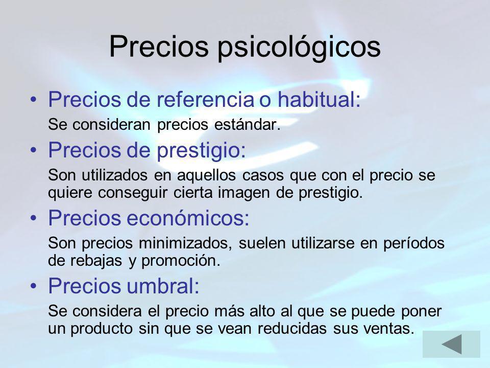 Precios psicológicos Precios de referencia o habitual: Se consideran precios estándar. Precios de prestigio: Son utilizados en aquellos casos que con