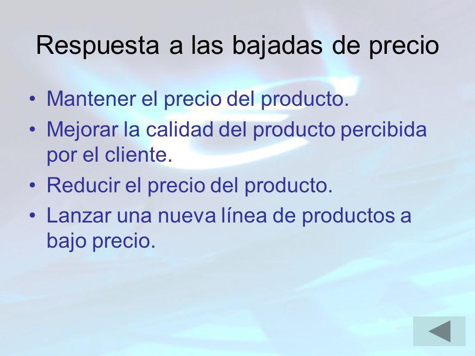 Respuesta a las bajadas de precio Mantener el precio del producto. Mejorar la calidad del producto percibida por el cliente. Reducir el precio del pro