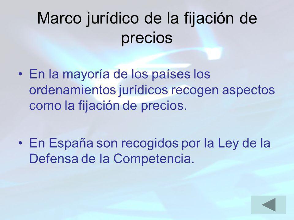 Marco jurídico de la fijación de precios En la mayoría de los países los ordenamientos jurídicos recogen aspectos como la fijación de precios. En Espa
