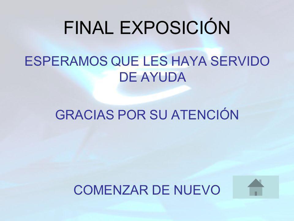FINAL EXPOSICIÓN ESPERAMOS QUE LES HAYA SERVIDO DE AYUDA GRACIAS POR SU ATENCIÓN COMENZAR DE NUEVO