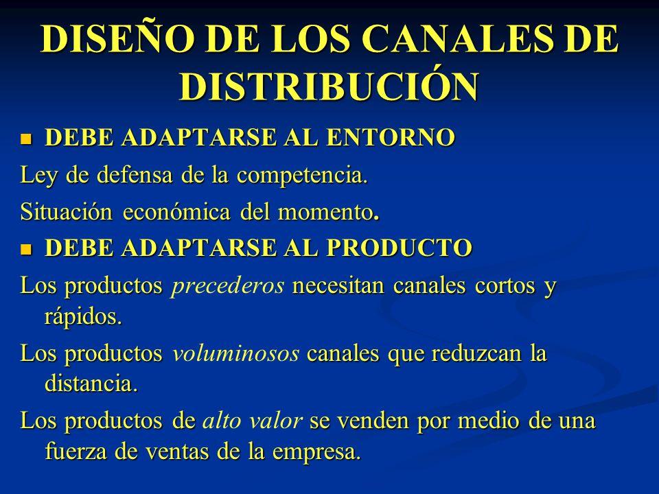 DISEÑO DE LOS CANALES DE DISTRIBUCIÓN DEBE ADAPTARSE AL ENTORNO DEBE ADAPTARSE AL ENTORNO Ley de defensa de la competencia. Situación económica del mo