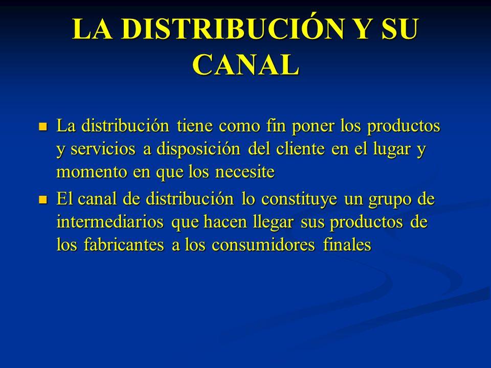 LA DISTRIBUCIÓN Y SU CANAL La distribución tiene como fin poner los productos y servicios a disposición del cliente en el lugar y momento en que los n