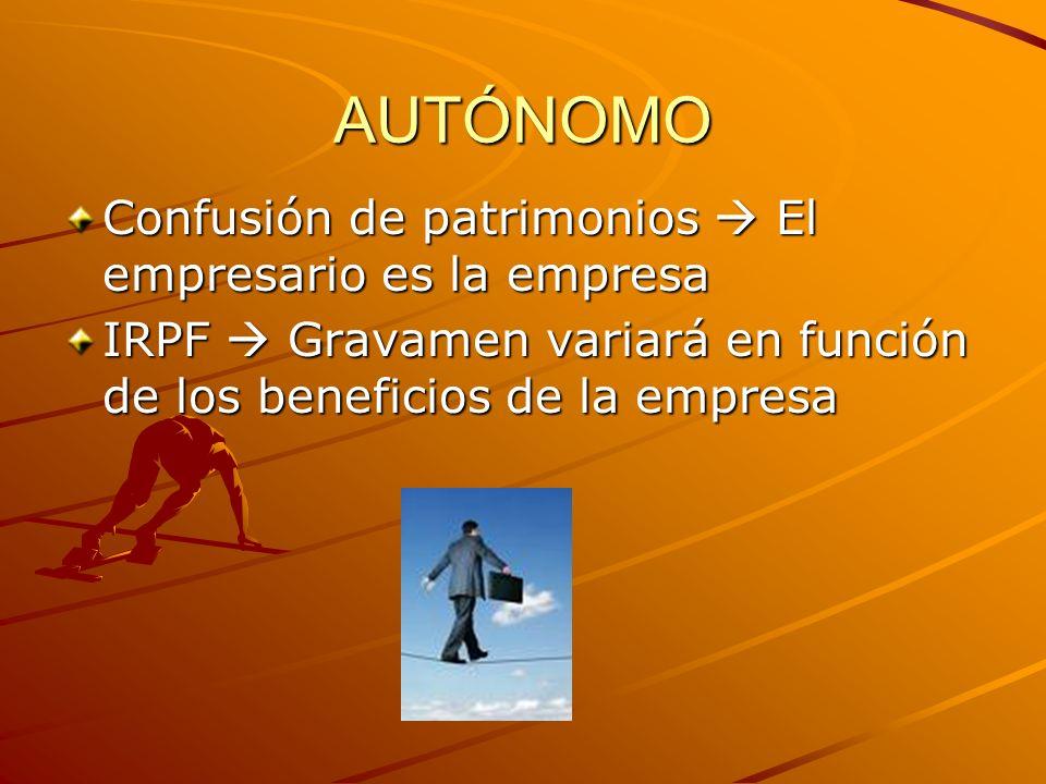 Autónomo Base imponible se determina por diferentes sistemas: –Estimación directa NormalSimplificada –Estimación objetiva por módulos
