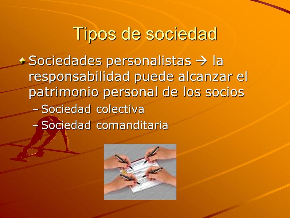 Tipos de sociedad Sociedades personalistas la responsabilidad puede alcanzar el patrimonio personal de los socios –Sociedad colectiva –Sociedad comand