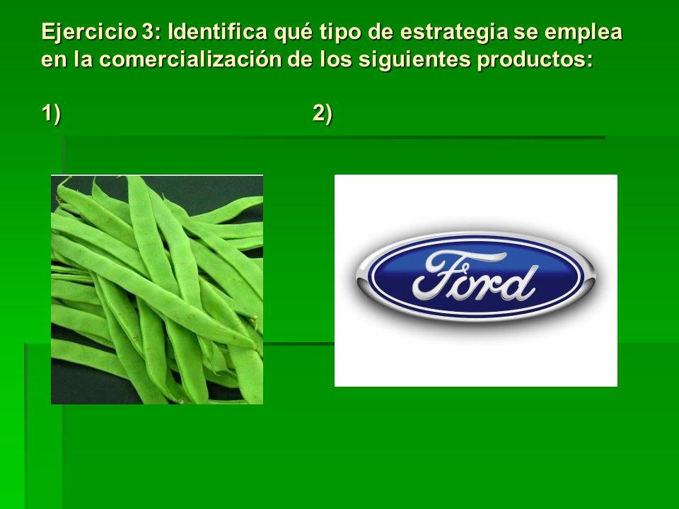 Ejercicio 3: Identifica qué tipo de estrategia se emplea en la comercialización de los siguientes productos: 1)2)