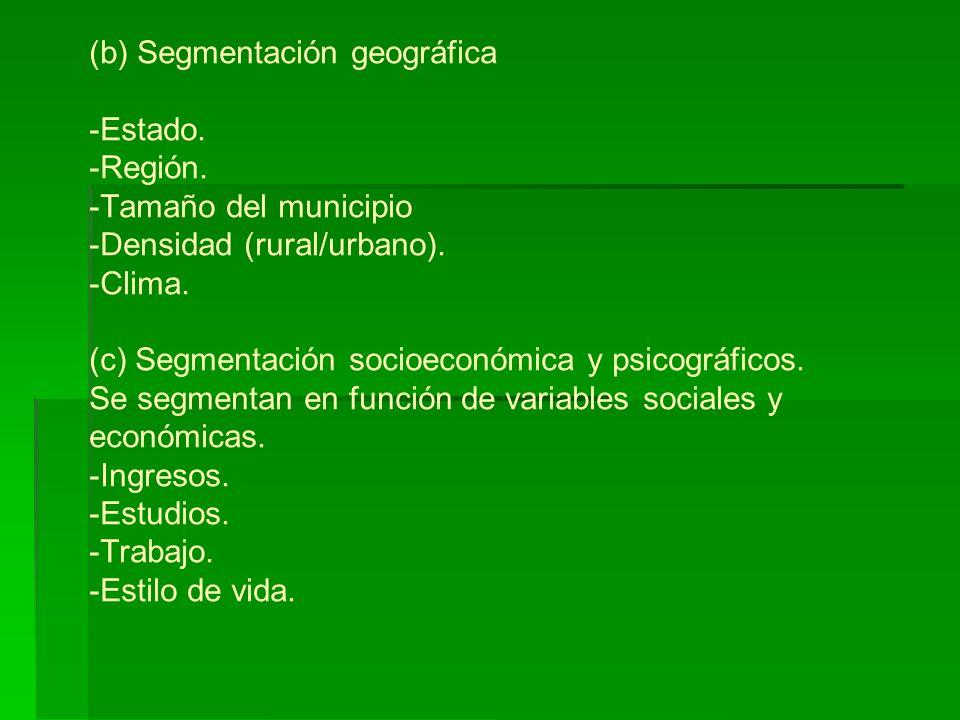 (b) Segmentación geográfica -Estado.-Región. -Tamaño del municipio -Densidad (rural/urbano).