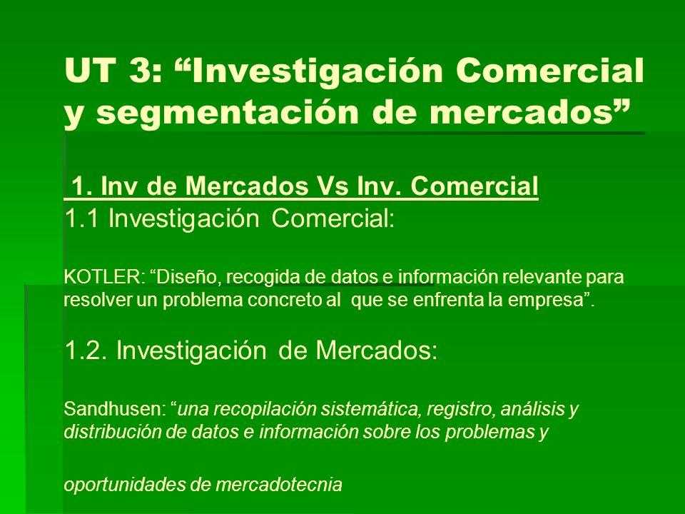 UT 3: Investigación Comercial y segmentación de mercados 1.