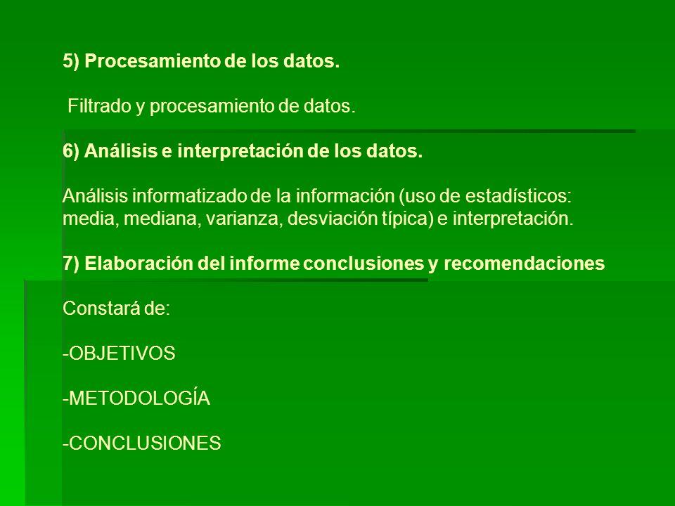 5) Procesamiento de los datos.Filtrado y procesamiento de datos.