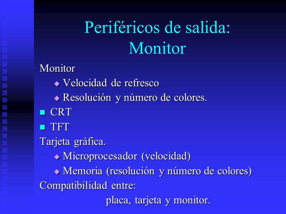 Periféricos de salida: Monitor Monitor Velocidad de refresco Velocidad de refresco Resolución y número de colores. Resolución y número de colores. CRT