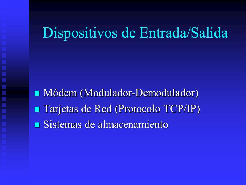 Dispositivos de Entrada/Salida Módem (Modulador-Demodulador) Módem (Modulador-Demodulador) Tarjetas de Red (Protocolo TCP/IP) Tarjetas de Red (Protoco