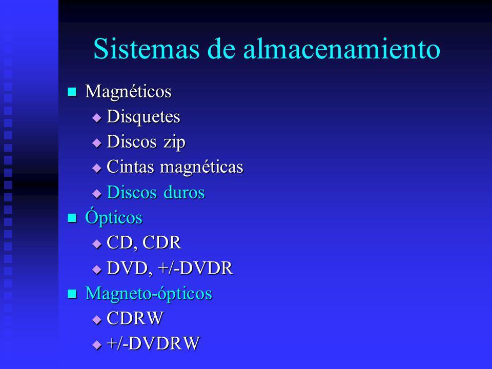 Sistemas de almacenamiento Magnéticos Magnéticos Disquetes Disquetes Discos zip Discos zip Cintas magnéticas Cintas magnéticas Discos duros Discos dur