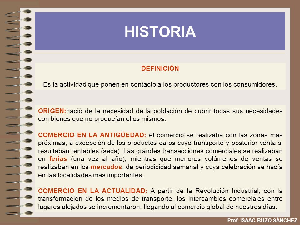 HISTORIA Prof. ISAAC BUZO SÁNCHEZ ORIGEN:nació de la necesidad de la población de cubrir todas sus necesidades con bienes que no producían ellos mismo