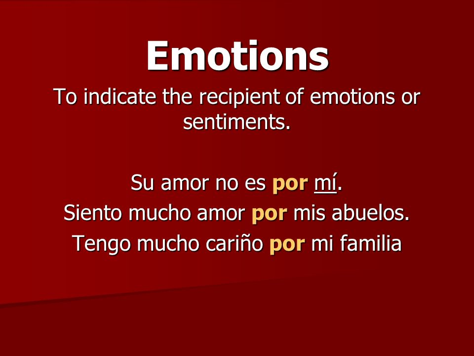 Emotions To indicate the recipient of emotions or sentiments.