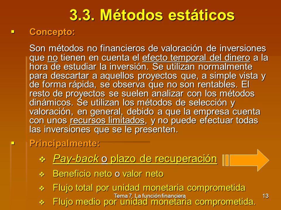Tema 7. La función financiera12 3.2. Actualización Finalidad: Es el proceso inverso al de capitalización. Pretende saber cuál es el valor actual de un