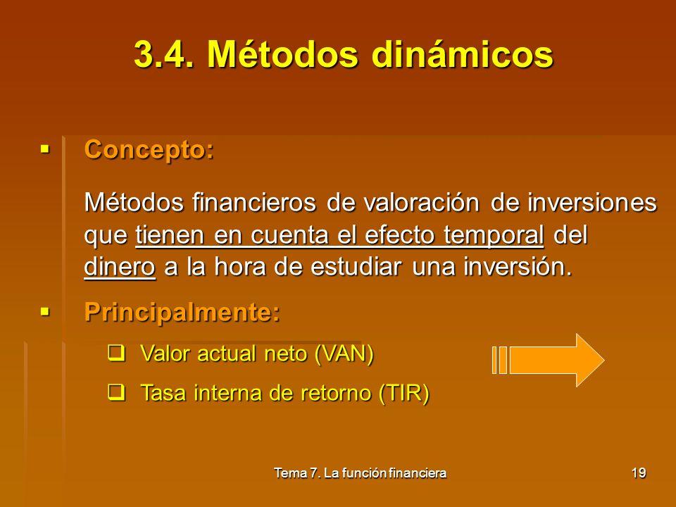 Tema 7. La función financiera18 Relaciona el flujo neto de caja medio anual con el desembolso inicial de la siguiente forma: FNT = (F i /n)/Do Tiene l