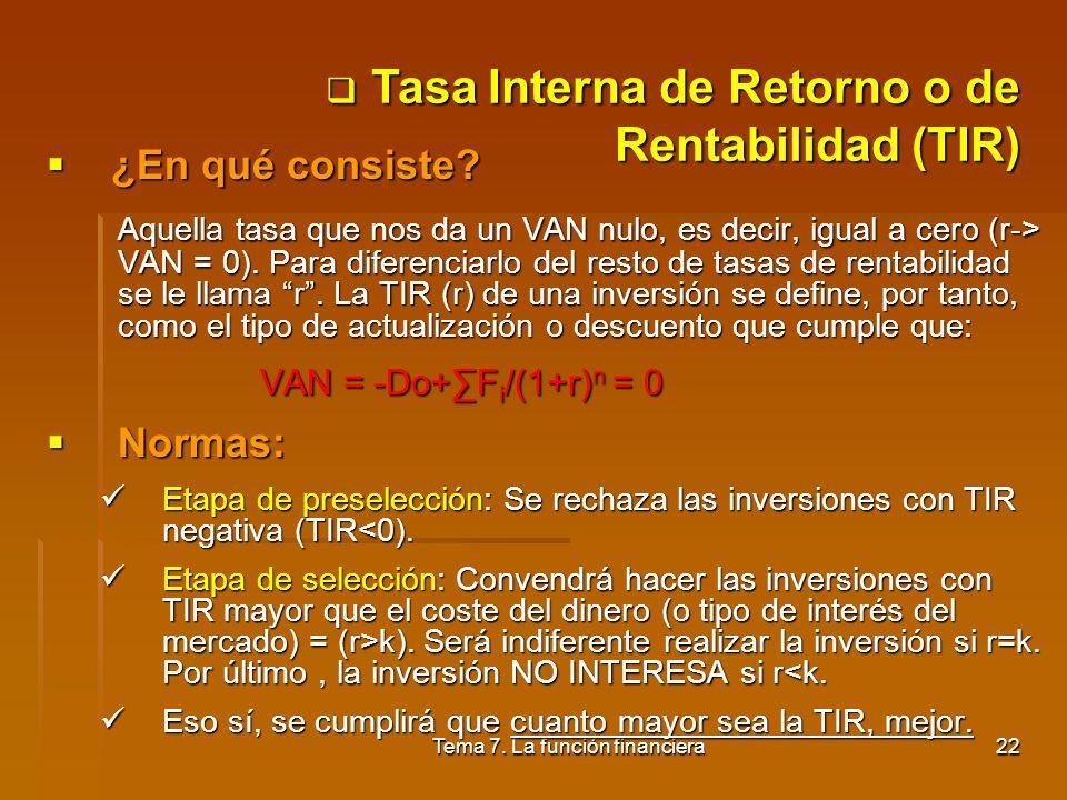 Tema 7. La función financiera21 VAN = -Do+Fi/(1+k) n Normas: Etapa de preselección: Se rechaza las inversiones que tienen un VAN negativo (VAN<0), lo