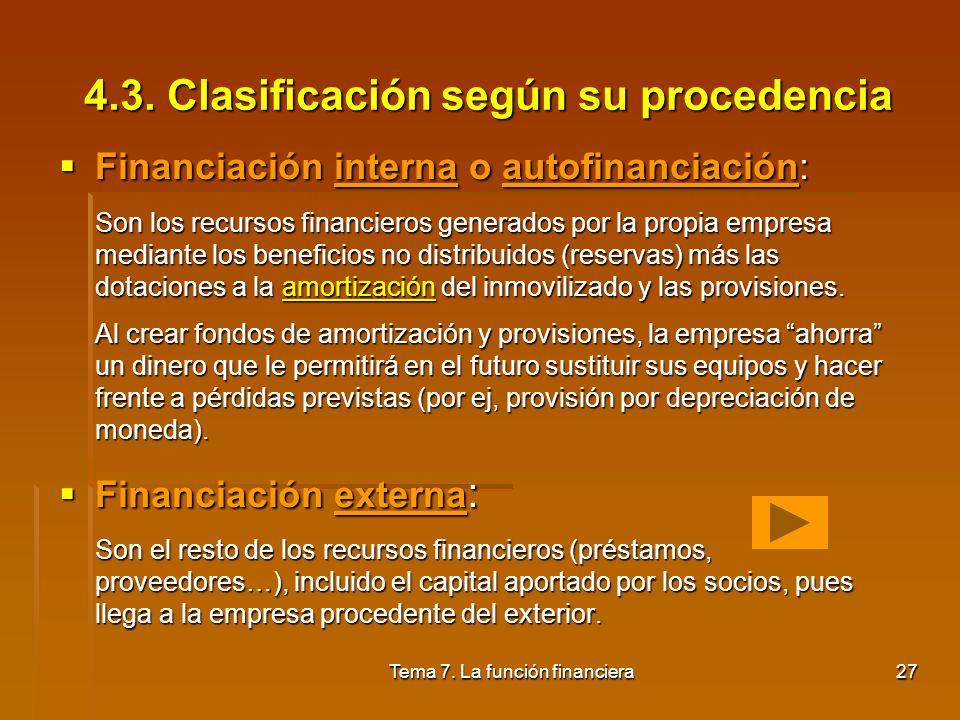 Tema 7. La función financiera26 4.2. Clasificación según su propiedad Financiación propia: Los recursos financieros son propiedad de la empresa: Finan