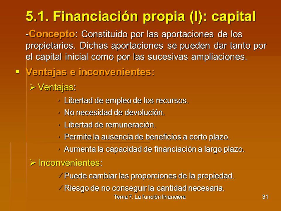 Tema 7. La función financiera30 5. Análisis de fuentes alternativas de financiación 5.1. Financiación propia: capital 5.2. Financiación propia: reserv