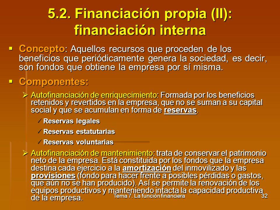 Tema 7. La función financiera31 5.1. Financiación propia (I): capital - Concepto: Constituido por las aportaciones de los propietarios. Dichas aportac