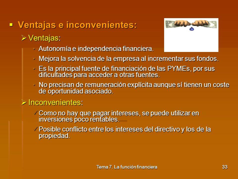 Tema 7. La función financiera32 5.2. Financiación propia (II): financiación interna Concepto : Aquellos recursos que proceden de los beneficios que pe