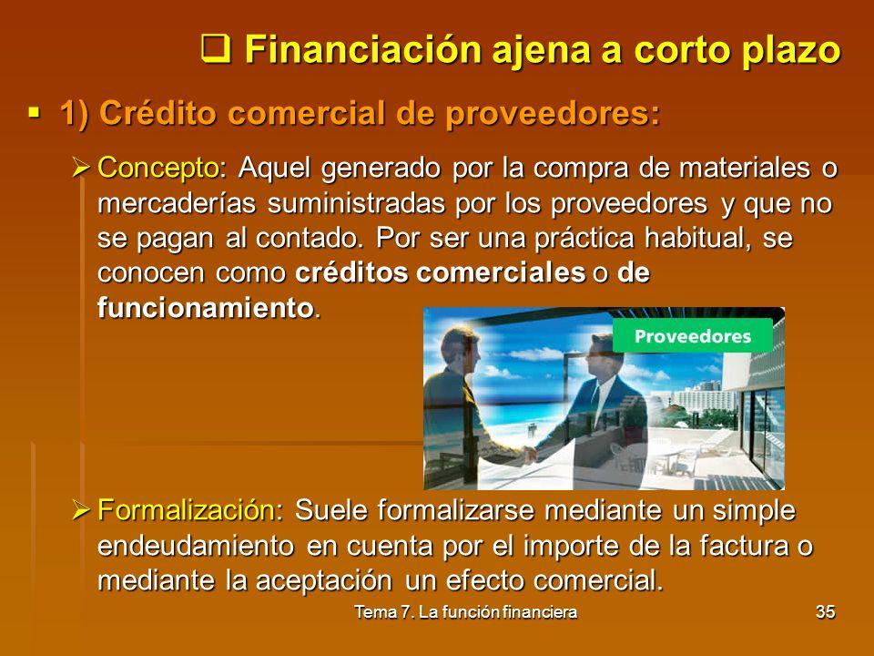 Tema 7. La función financiera34 5.3. Financiación ajena Concepto: cuando los recursos propios de la empresa son insuficientes es necesario acudir a pe