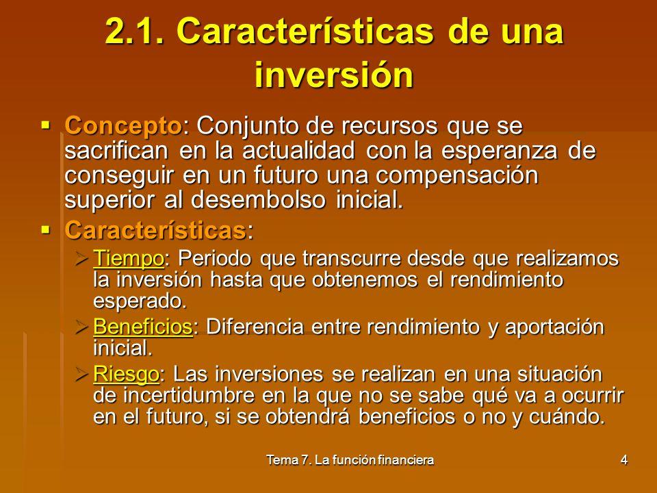 Tema 7. La función financiera3 2. Concepto y clases de inversión 2.1. Características de una inversión 2.2. Criterios para la selección de inversiones