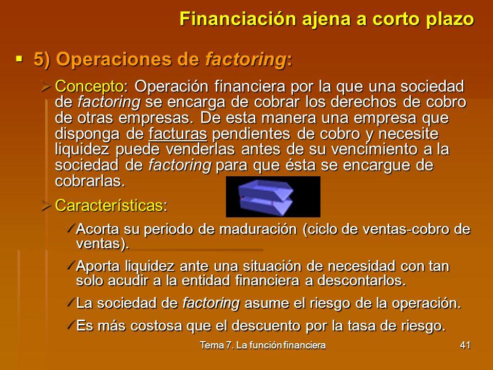 Tema 7. La función financiera40 Financiación ajena a corto plazo 4) Descuento comercial o de efectos: 4) Descuento comercial o de efectos: Concepto: O