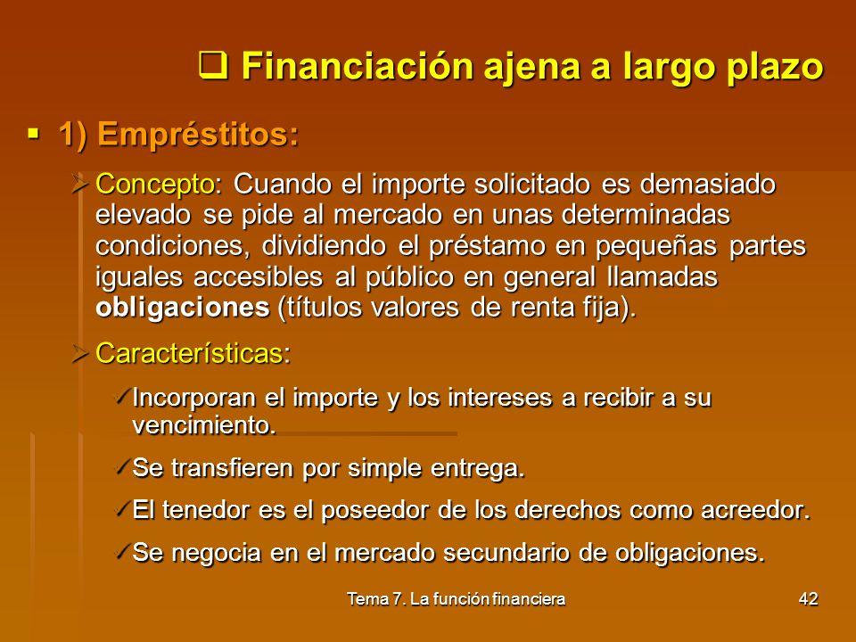 Tema 7. La función financiera41 Financiación ajena a corto plazo 5) Operaciones de factoring: 5) Operaciones de factoring: Concepto: Operación financi