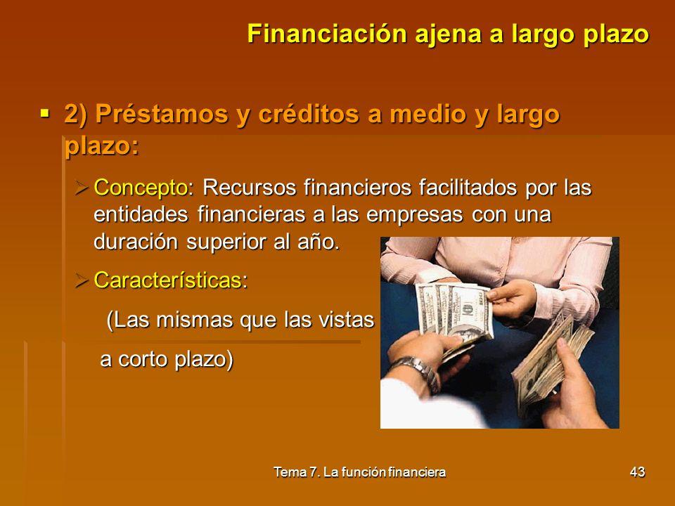 Tema 7. La función financiera42 Financiación ajena a largo plazo Financiación ajena a largo plazo 1) Empréstitos: 1) Empréstitos: Concepto: Cuando el